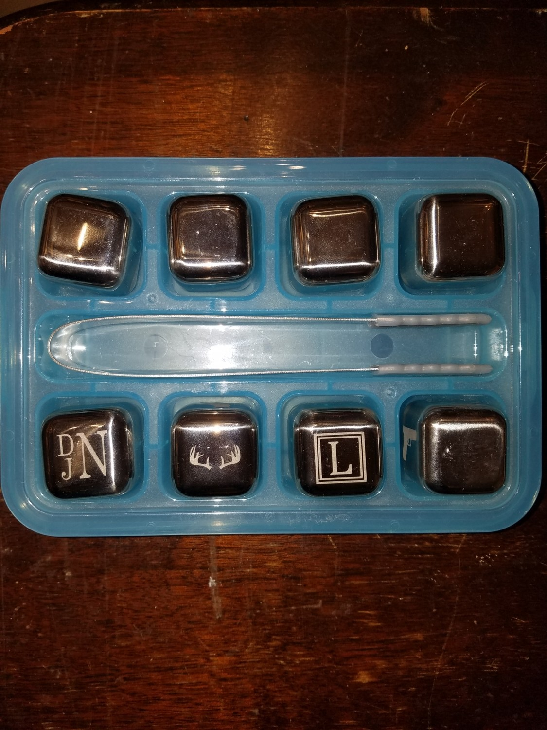 Etched Silver Ice Cube Set Of 8