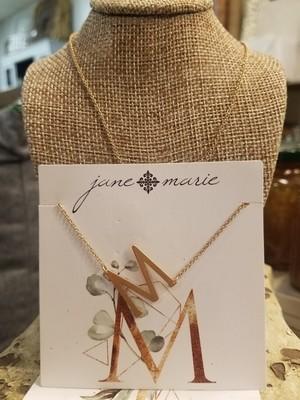 JM Initial M Necklace