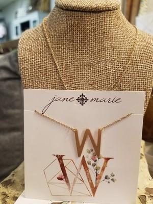 JM Initial W Necklace