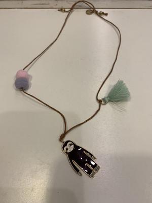 JM Adjustable Necklace 14-20 Brown With Sloth