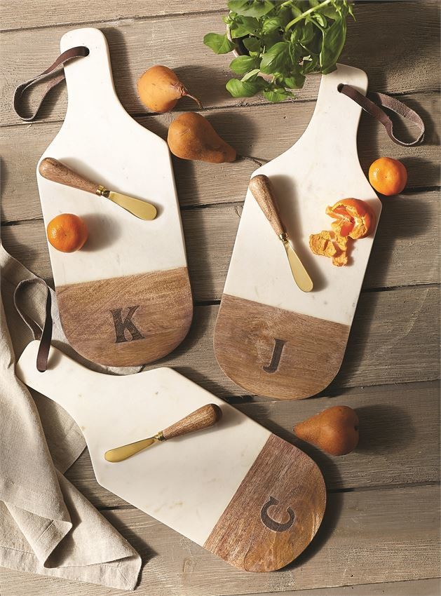 Marble & Wood Engraved Initial Board Sets