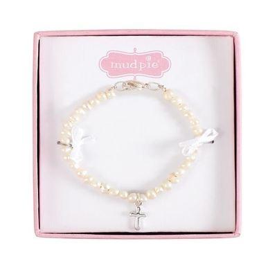 Fresh Water Pearl With Cross Bracelet