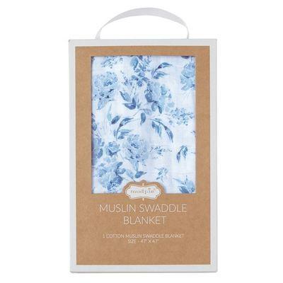 Muslin Swaddle Blanket - Garden Rose Blue