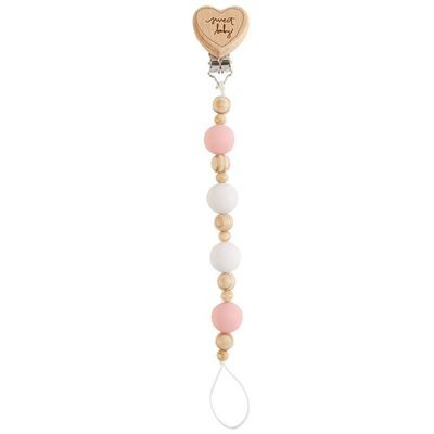 Heart Wooden Pacy Clip - Pink