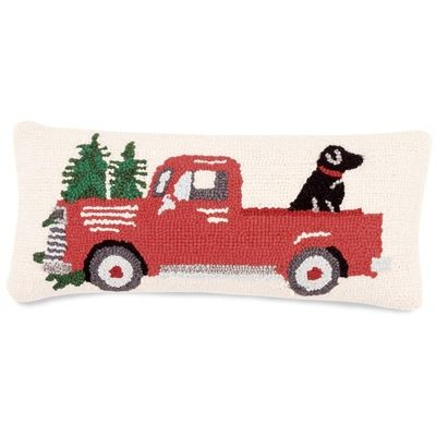 Red Truck With Dog Hooked Pillow