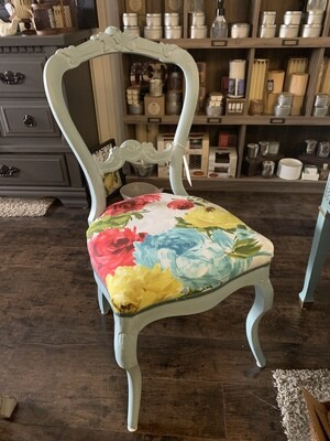 FGF Blue Chair With Bright Floral Fabric