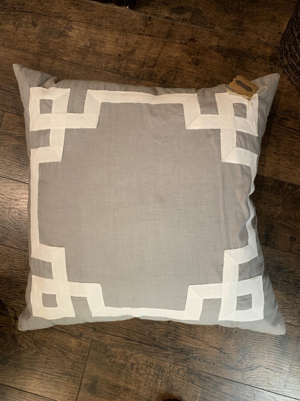 Grey Greek Key Pillow