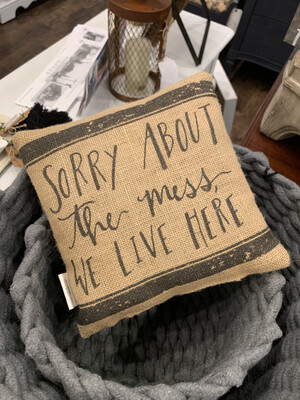 Sorry About The Mess We Live Here | Small Pillow