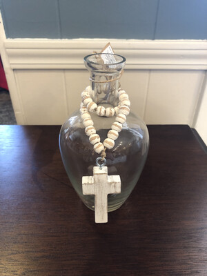 Glass Vase With Cross Beads
