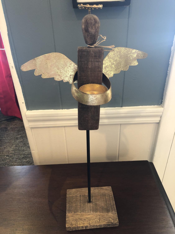 Large Wood Angel Votive Sitter