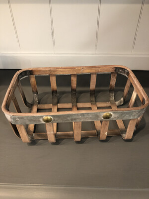 Wooden Basket With Metal Rim