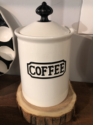 Black And White Coffee Canister