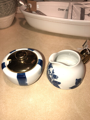 Blue and White Stoneware Creamer Set