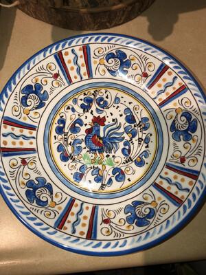Le Cadeaux ROOSTER BLUE STRAIGHT EDGE PASTA BOWL