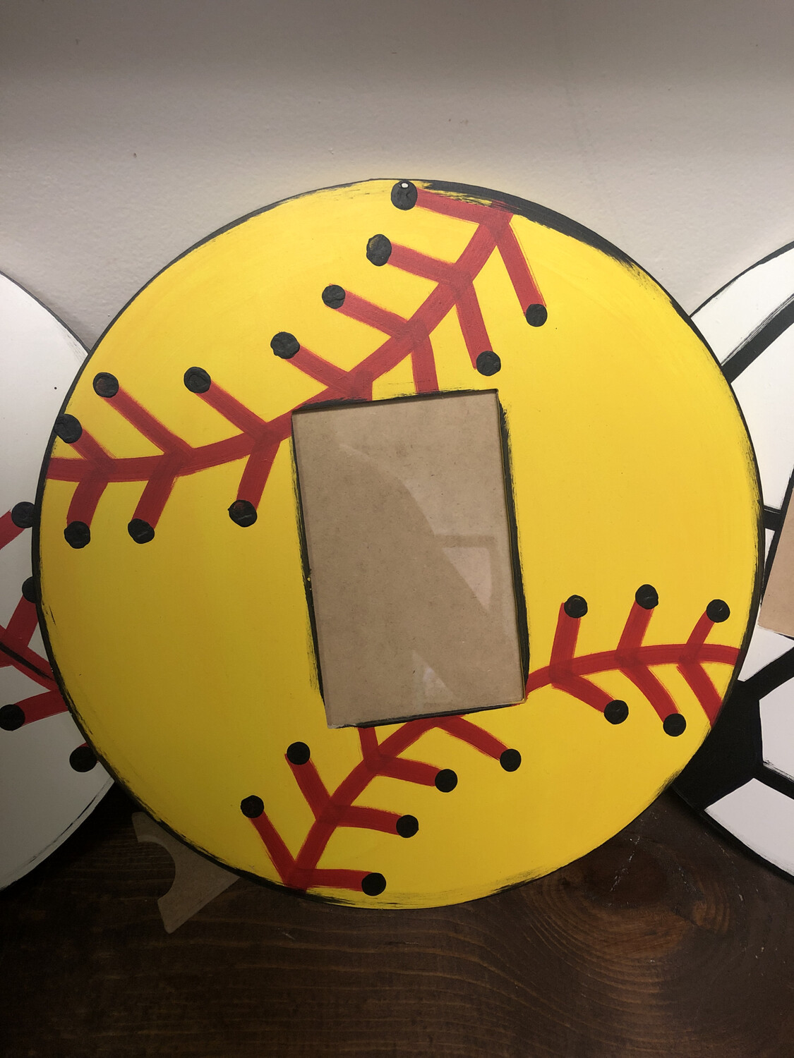Ball Picture Frame yellow softball
