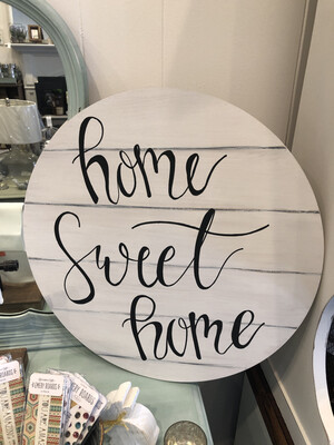 SSC Home Sweet Home Round Wood Sign
