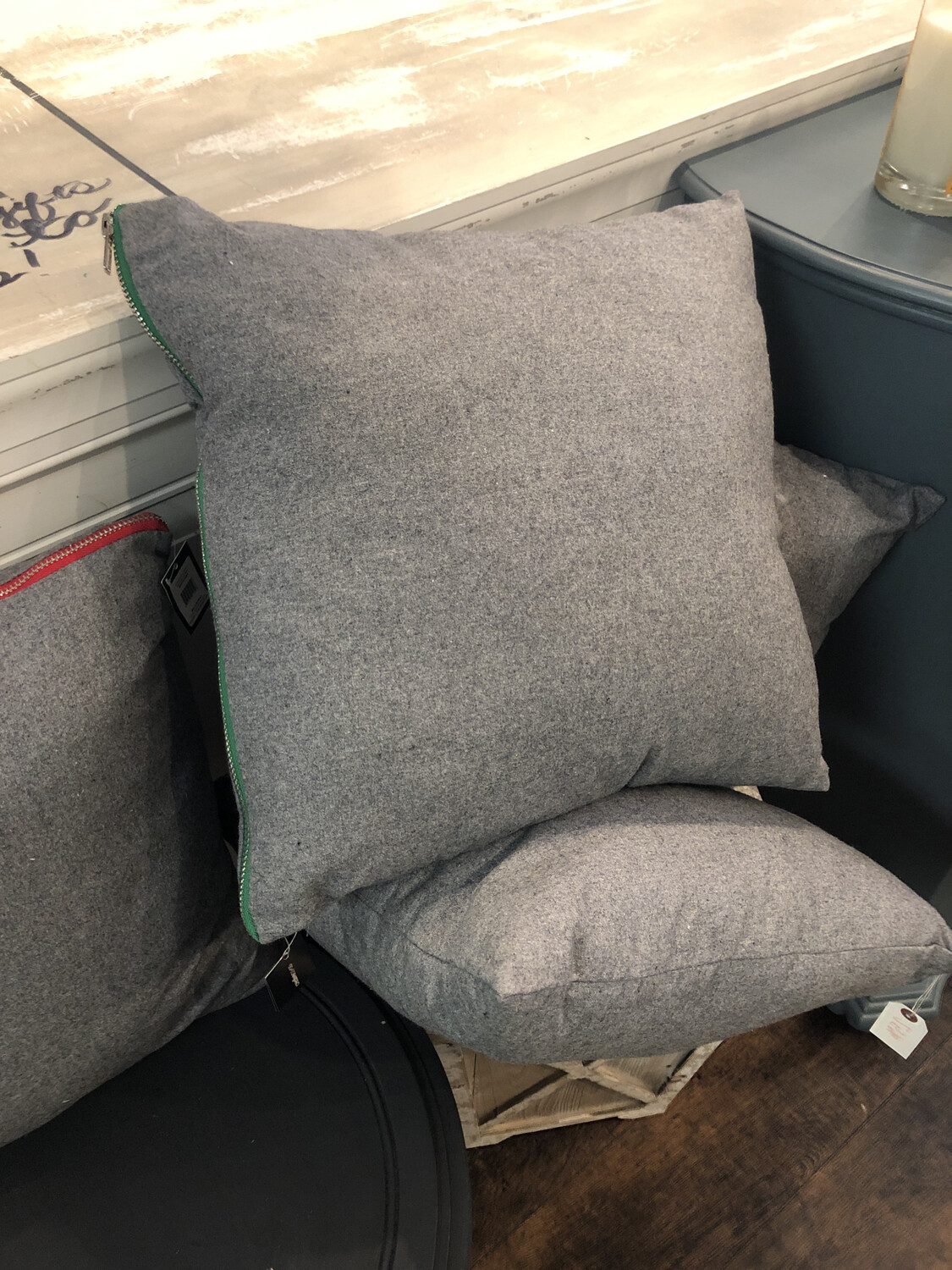 Grey Square Pillow (Red Or Green Zipper)