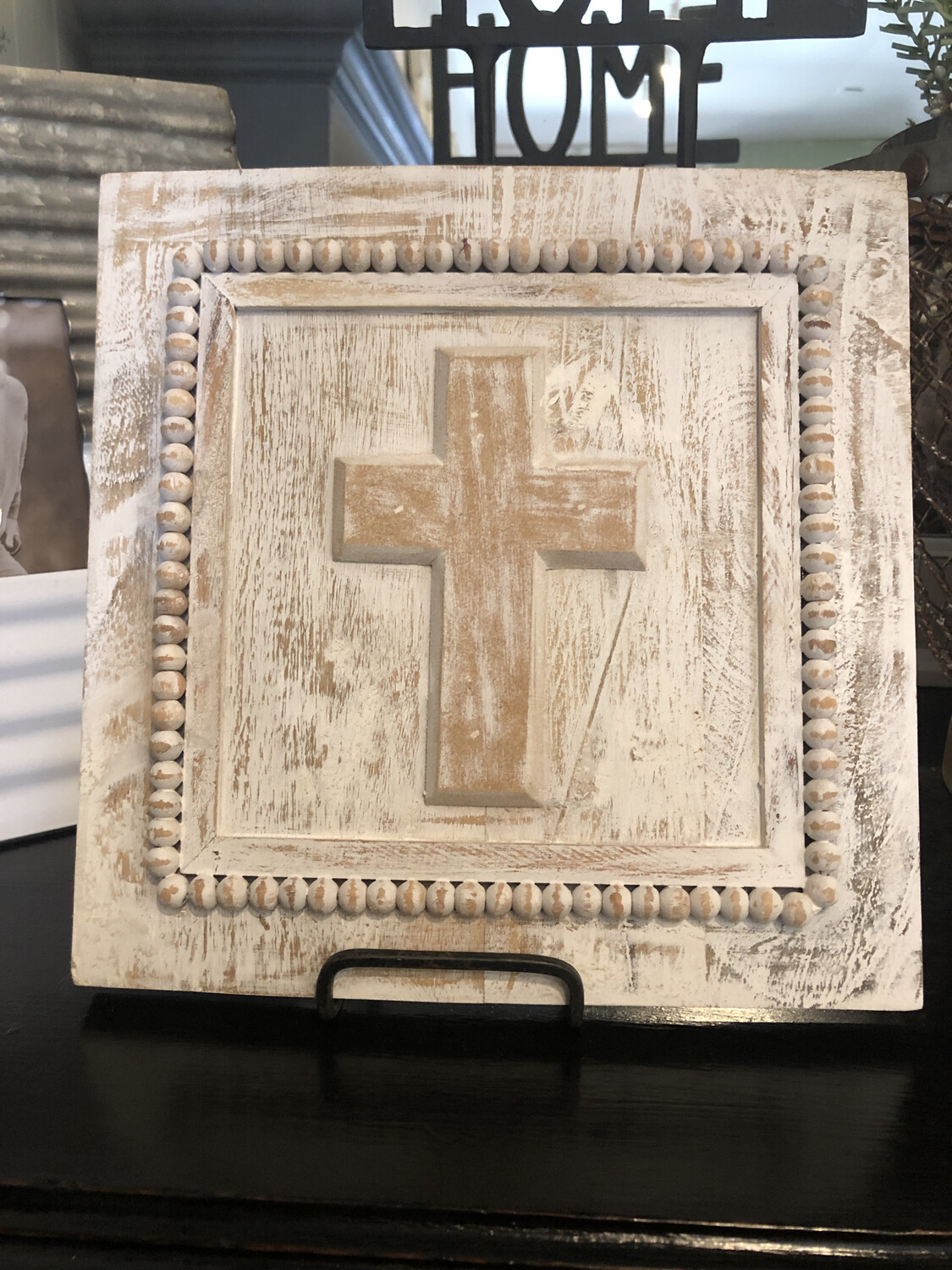 White Washed Cross Plaque