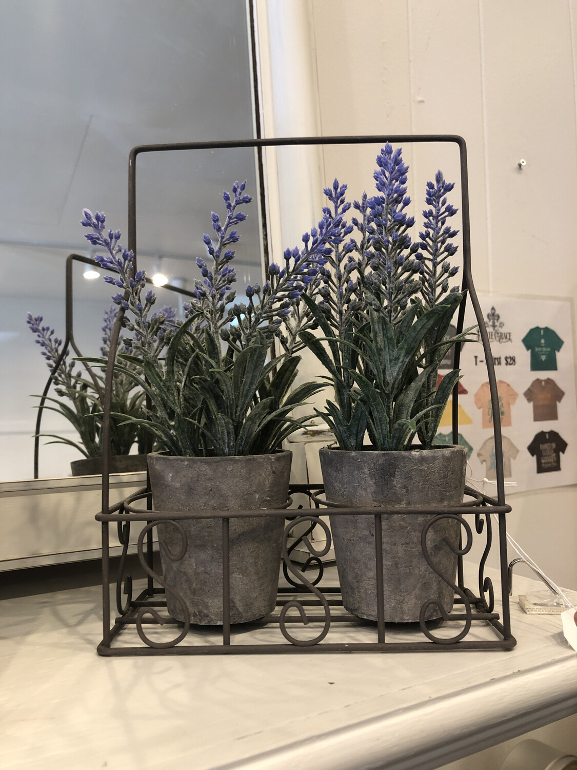 Set Of Lavender Potted Plant In Wire Holder