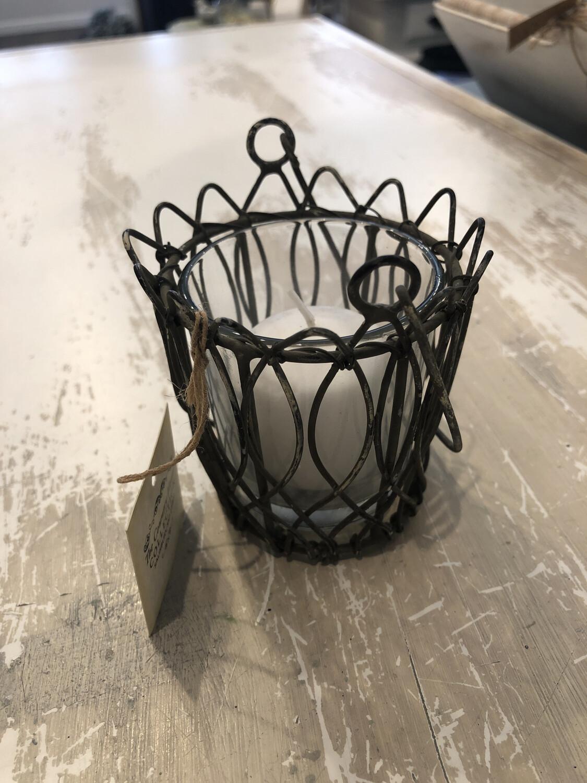 Wire Votive Holder W/glass Insert
