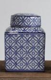 BLUE/WHITE DECORATIVE CERAMIC GINGER JAR W/ LID, 4-3/4