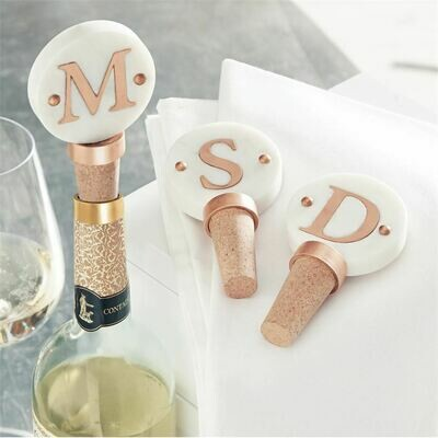 Copper and Marble Initial Wine Cork