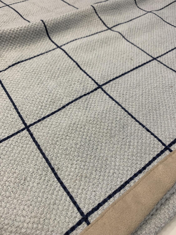 Rug Grey With Navy Design