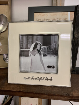 Most Beautiful Bride White Enamel Frame