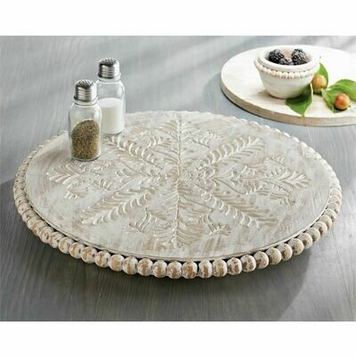 White Wash Carved Lazy Susan