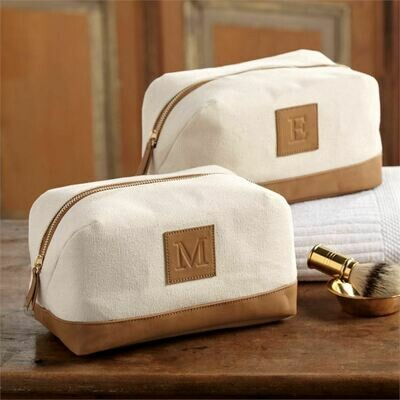 Canvas and Leather Initial Dopp Kit