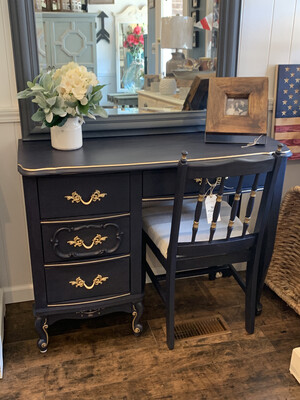 FGF Navy Desk With Gold Accents And Chair