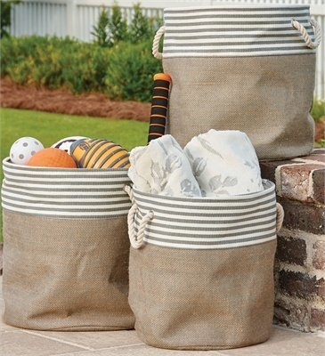 Gray Striped Basket/Bins  (Set Of 3)