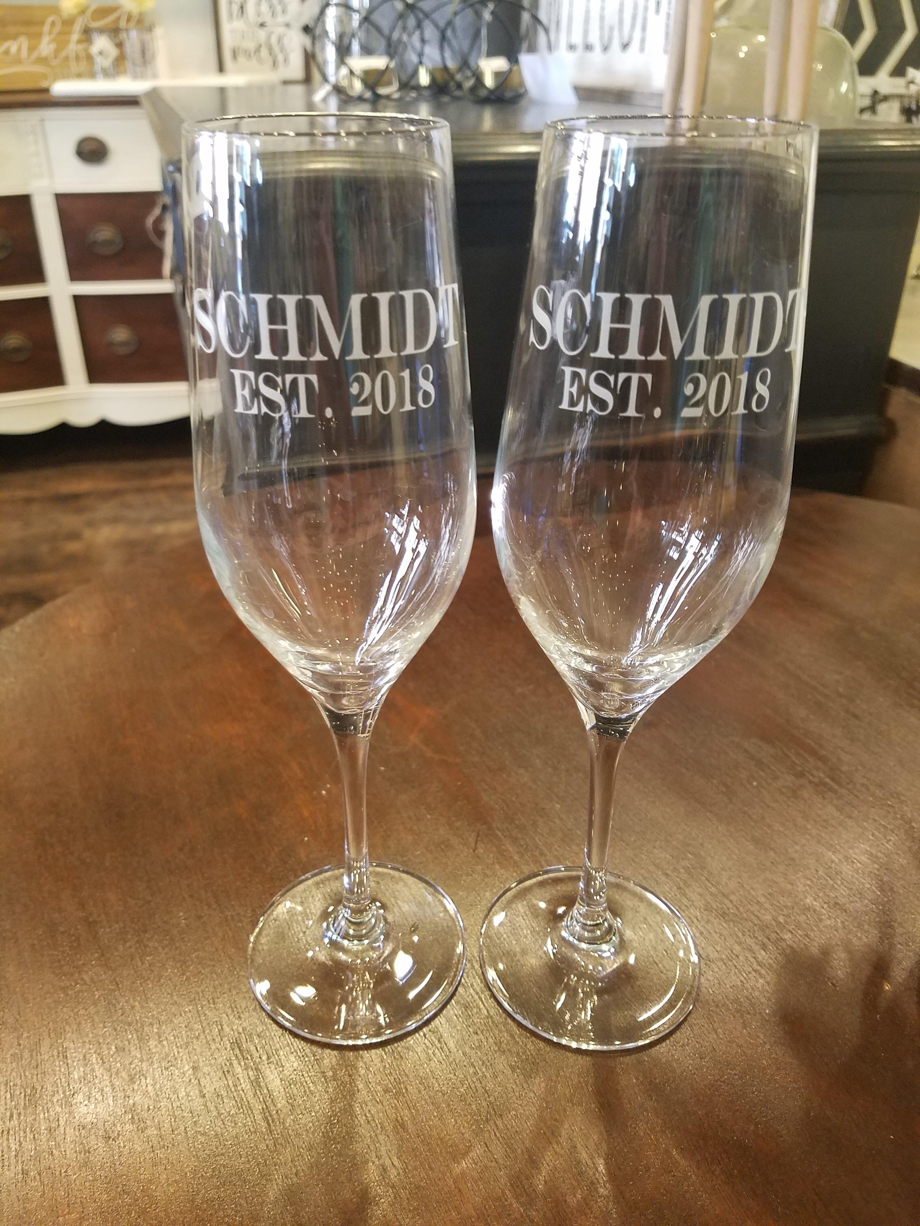 Set Of Custom Etched Champagne Flutes etchchamp