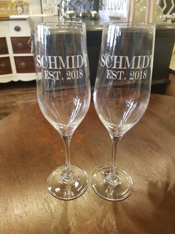 Set Of Custom Etched Champagne Flutes