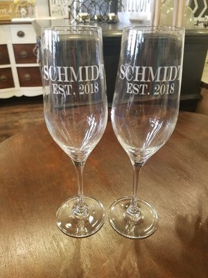 Set Of Custom Etched Champagne Flutes