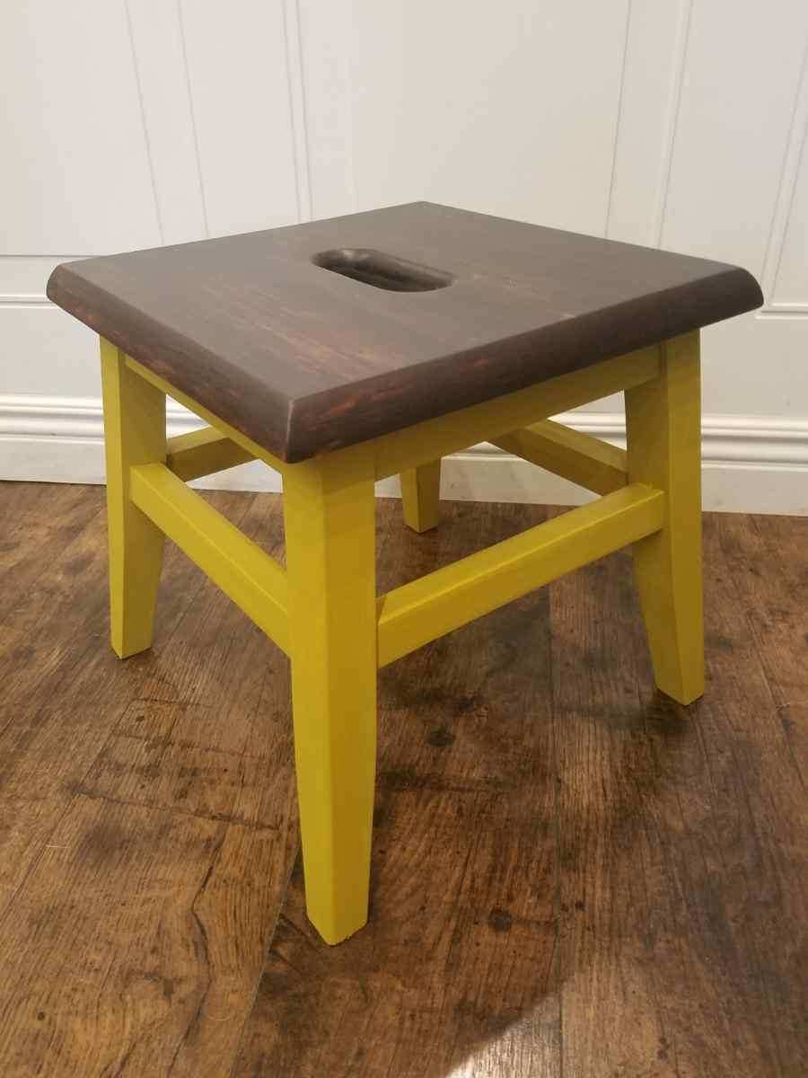 OLG Mustard Wood Step Stool olg18