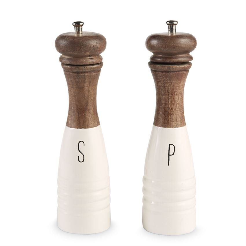 Wood & Enamel Salt Pepper Mills Set 718540429921