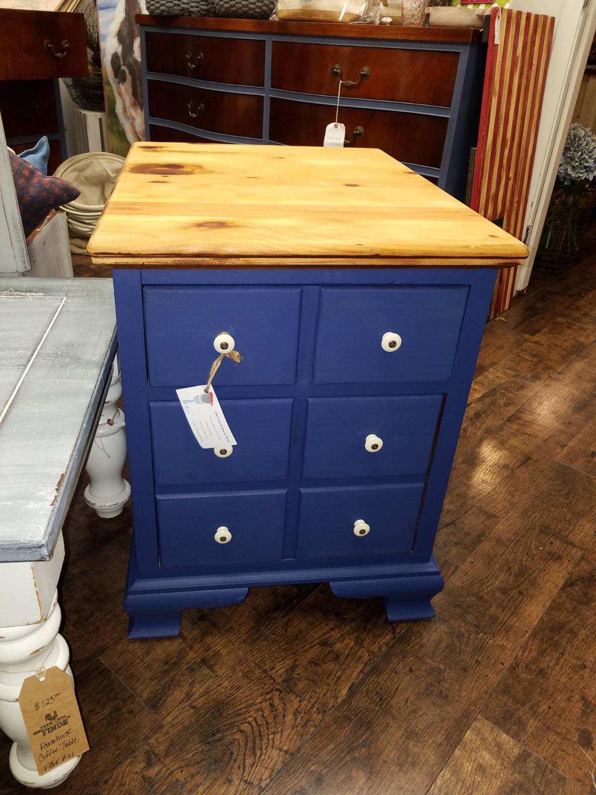 OLG Vintage Wooden Ethan Allen File Cabinet Navy W/ Natural Top olg41