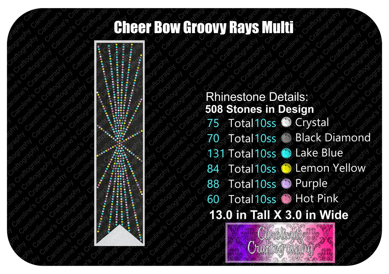Groovy Rays 3in Cheer Bow Multi Color Stone