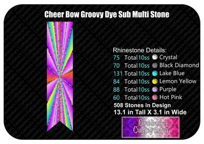 Groovy Dye Sub Stone Multi 3in Cheer Bow