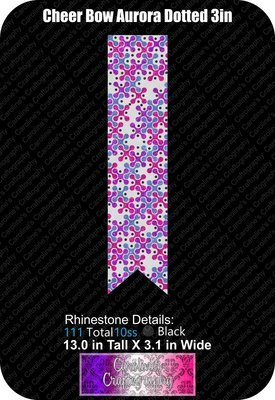 Aurora Dotted 3in Cheer Bow Stone Vinyl