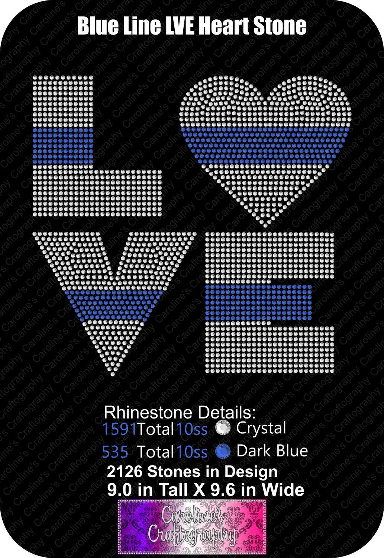 Blue Line Heart LVE Stone