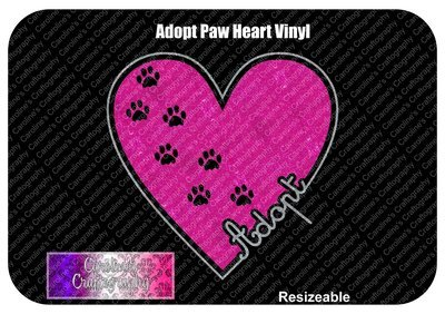 Adopt Paws Heart Vinyl