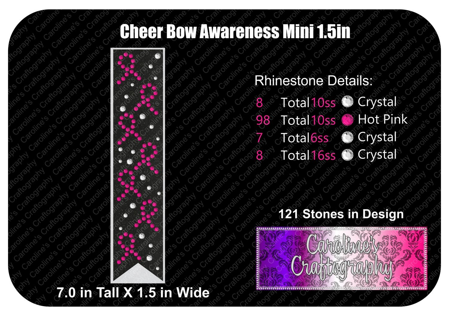 Awareness Ribbon 1.5in Mini Cheer Bow Stone