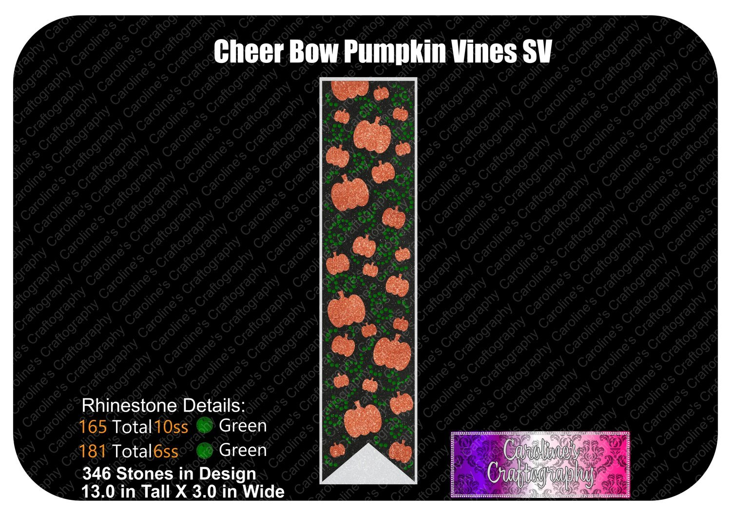 Pumpkin Vines Stone Vinyl 3in Cheer Bow