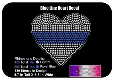 Blue Line Heart Stone Decal