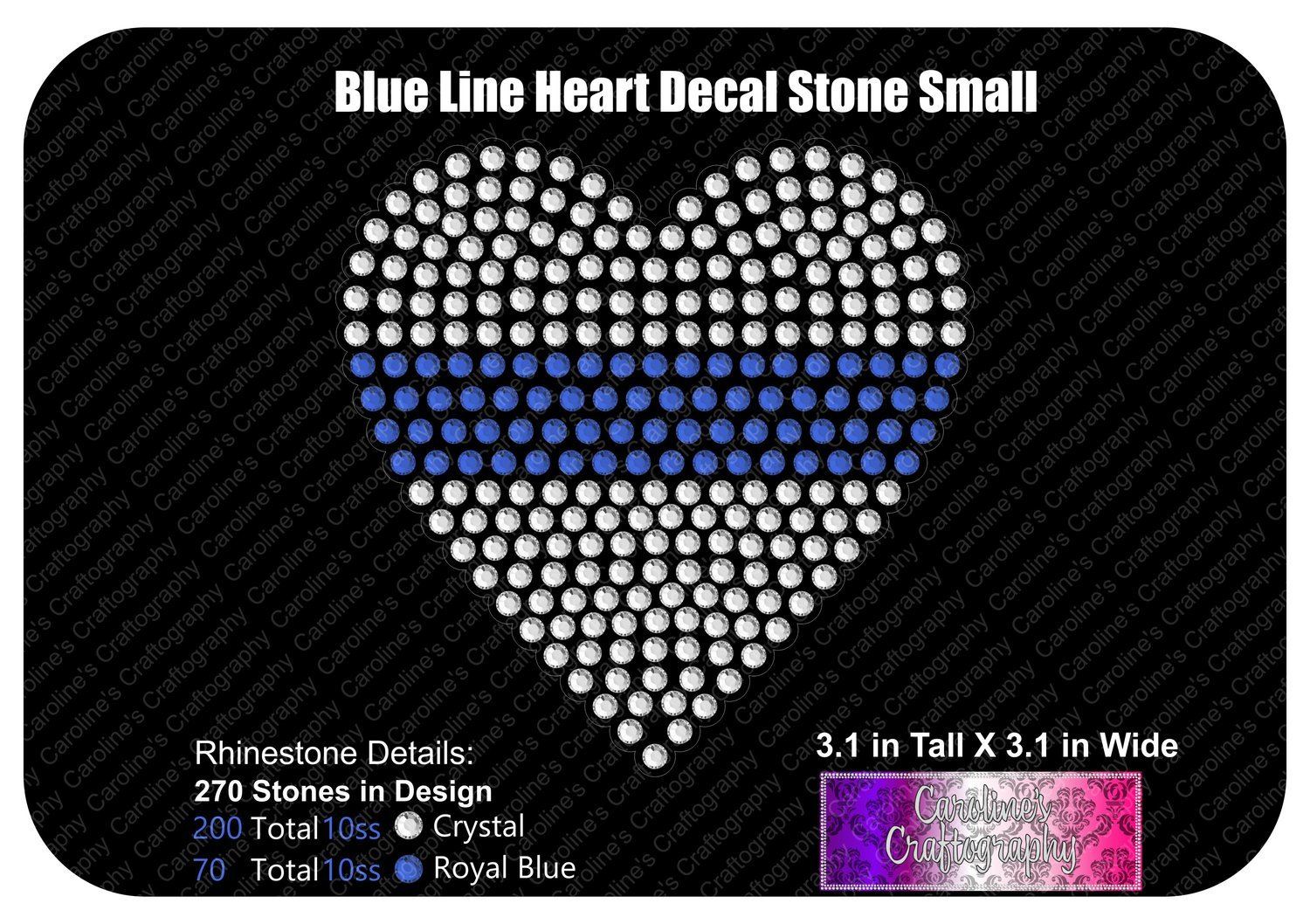 Blue Line Heart Stone Decal Small
