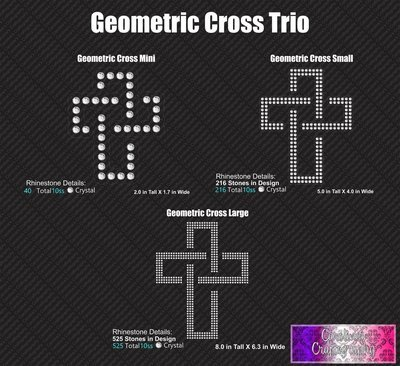 Geometric Cross Stone Trio