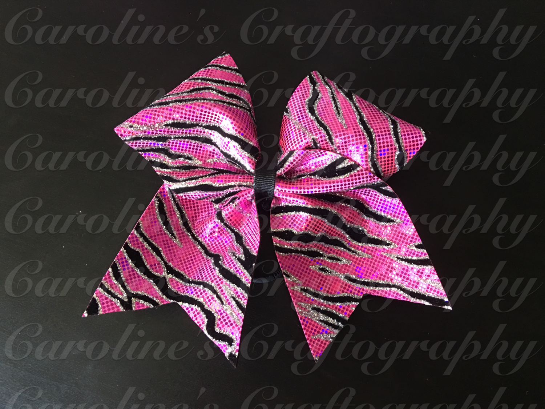 Pink Zebra Cheer Bow  **RTS**