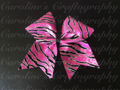 Pink Zebra Cheer Bow  **RTS**